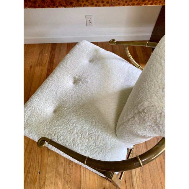 Vintage Mastercraft Brass Empress Lounge Chair in Faux Shearling For Sale - Image 9 of 10