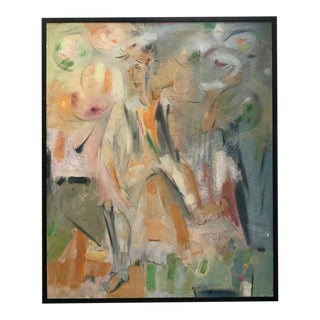 Vintage Mid Century Modern Figurative Abstract Oil Painting by Alexander Minewski For Sale