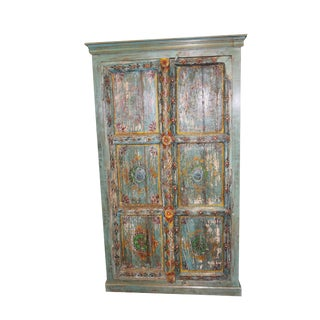1920s Art Nouveau Distressed Teal Blue Jaipur Hand Painted Storage Armoire For Sale