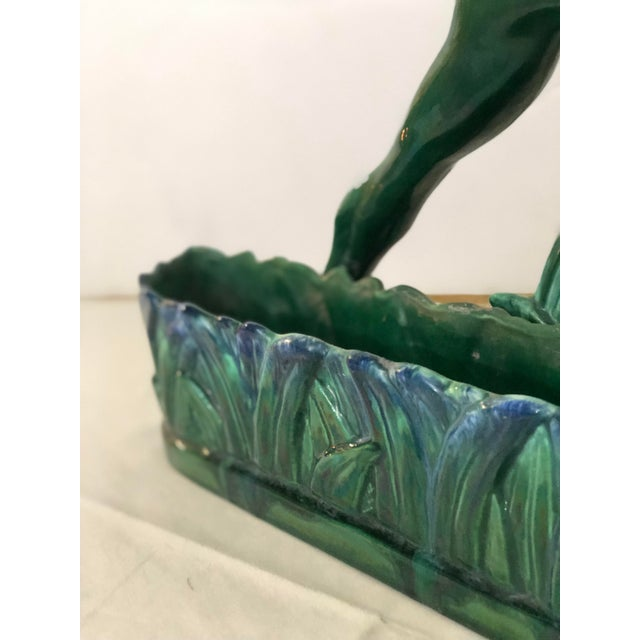 1960s Ibex Planter in Green and Blue Ceramic For Sale - Image 10 of 12
