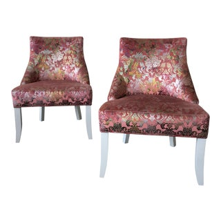 Vintage Pink & Rainbow Upholstered Vanity Chairs - a Pair