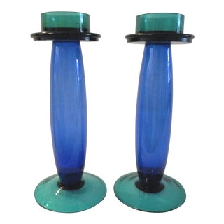 Vintage Modern Blue & Green Glass Candleholders - a Pair For Sale