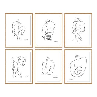 Poses by Sia Dzhan in Gold Frame, Small Art Print - Set of 6 For Sale