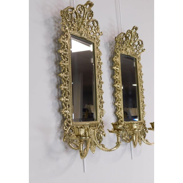 Pair Virginia Metal Crafters Brass Twin Candle Mirrored Sconces, Colonial Williamsburg For Sale In Philadelphia - Image 6 of 12