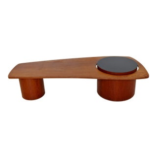 1960s Mid Century Modern Freeform Teak Round Base Coffee Table For Sale
