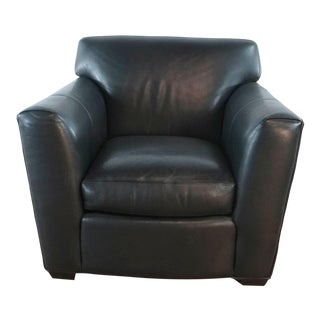 Room & Board Black Leather Chair For Sale