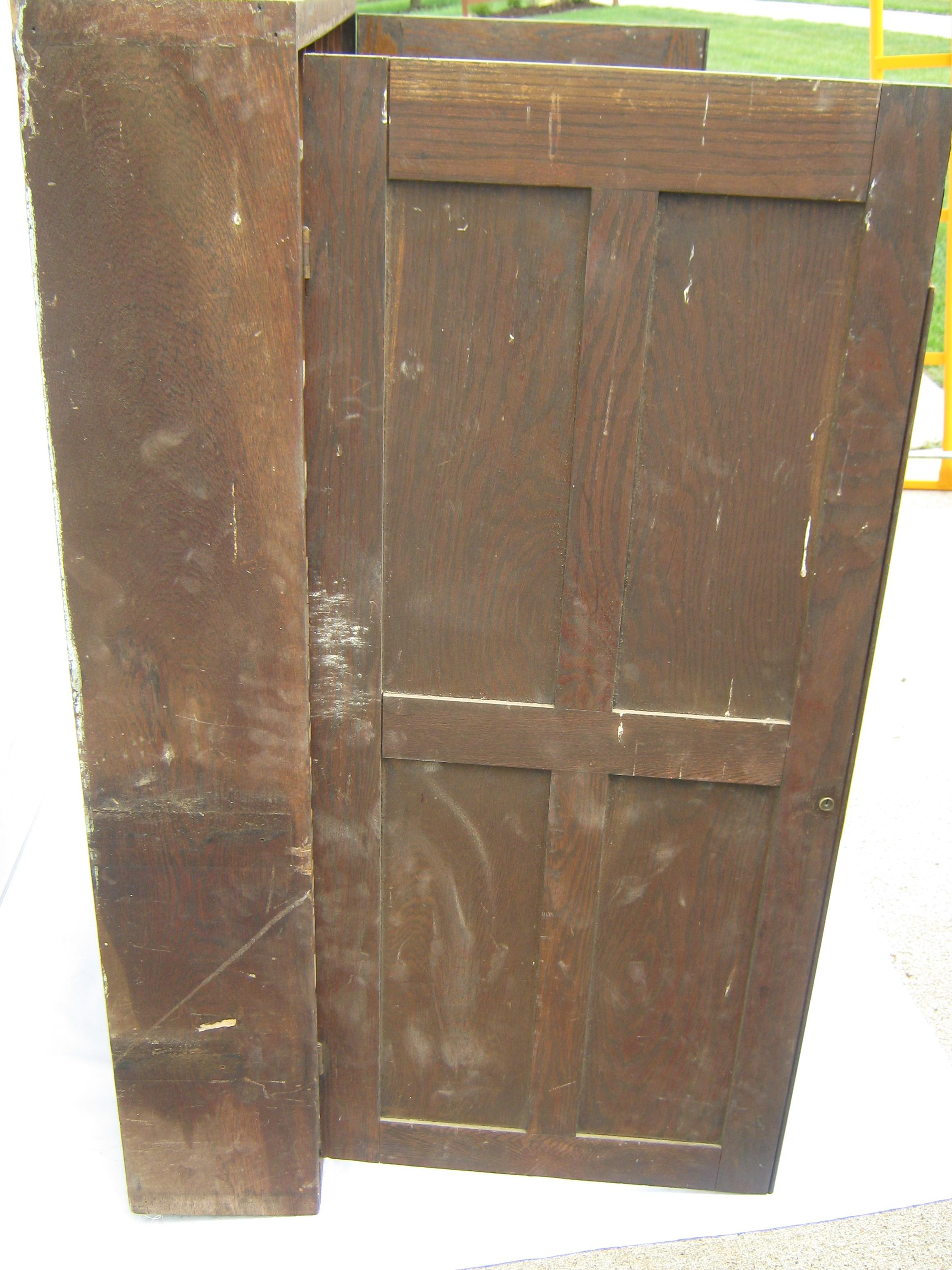 Americana Vintage 2 Door Oak Cubby Hole Store Cabinet For Sale   Image 3 Of  13