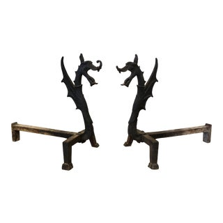 Antique Dragon - Griffin Andirons For Sale
