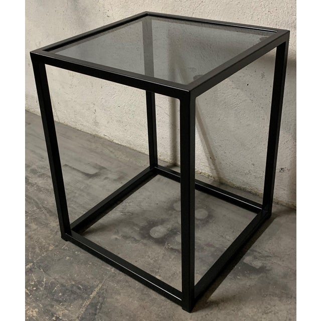 New Modern Square Black Table With Fumee Glass Top, Indoor or Outdoor For Sale - Image 4 of 7