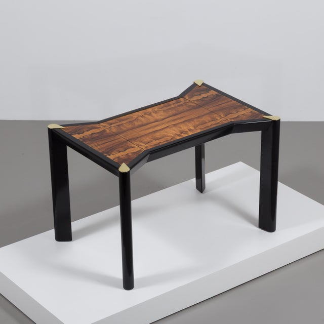 An Italian Ebonised Wood and Brass Games Table 1950s - Image 2 of 10