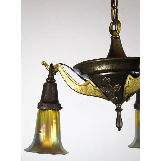 3 Light Arts & Crafts Style Iron Fixture. - Image 7 of 10