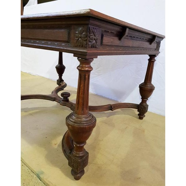 1950s Rectangular Carved Antique French Jacobean Style Oak Dining Table For Sale - Image 5 of 12