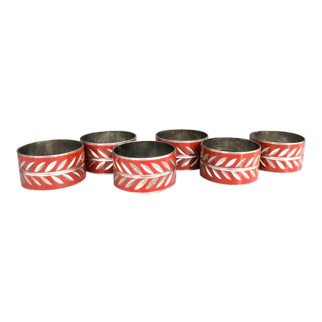 1960s Silver & Red Enamel Napkin Rings - Set of 6 For Sale