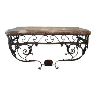 Early 19th Century French Regence Wrought Iron Console Table With Marble Top For Sale