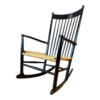 Black Hans Wegner J-16 Rocking Chair for Fdb Møbler For Sale