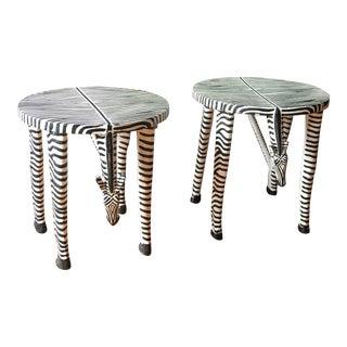 Vintage Zebra Side Tables - a Pair