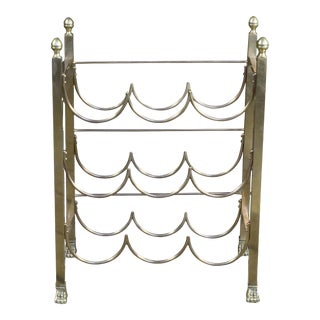 French Polished Brass Wine Rack For Sale