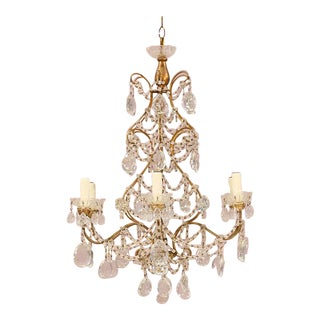 1940s Italian Gitwood & Crystal Chandelier For Sale