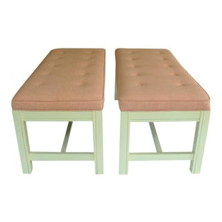 Vintage Pair of Benches With New Thibaut Upholstery