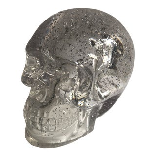 Lucite Silver Fleck Skull For Sale