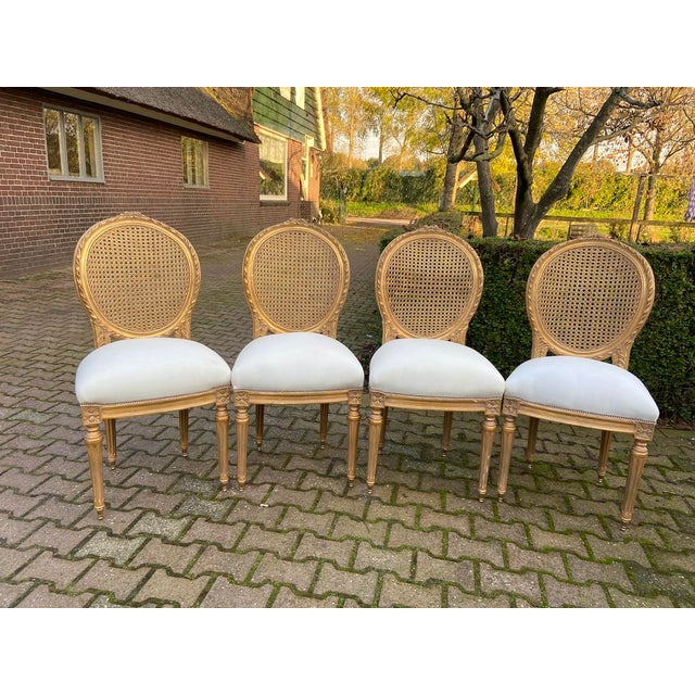 Gold New 4 Chairs in Antique Gold Finish For Sale - Image 8 of 8