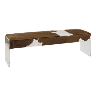 Regina Andrew Modern Hair on Hide Acrylic Bench For Sale