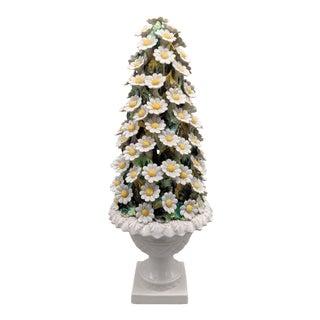 "16"" 20th Century Italian Majolica Daisy Flower Topiary For Sale"