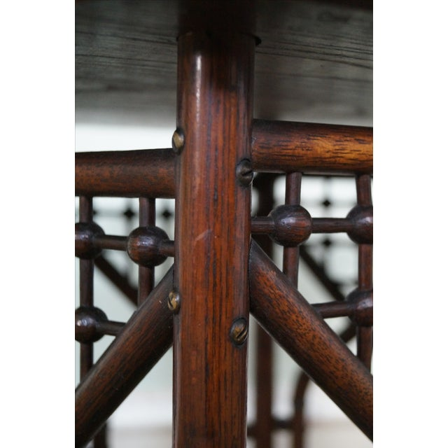 Brown Antique Oak Stick & Ball Hexagon Taboret Plant Stand For Sale - Image 8 of 10