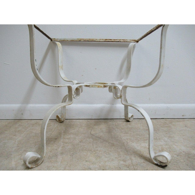 White Vintage French White Outdoor Square Patio End Table For Sale - Image 8 of 11