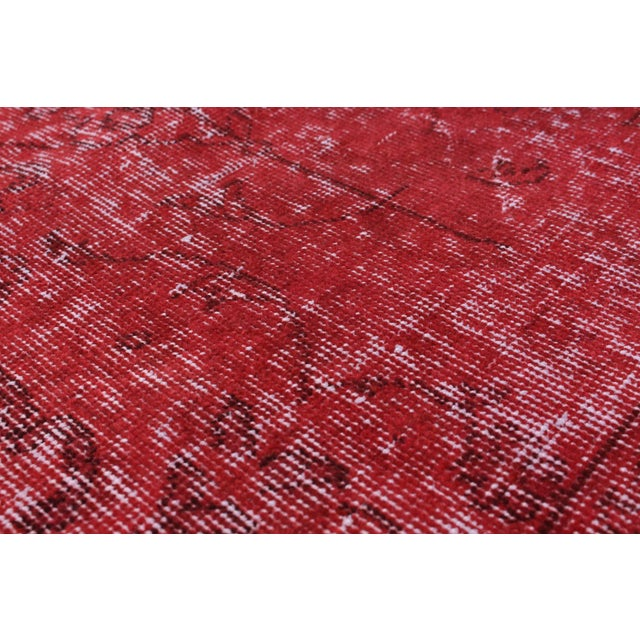 "Red Vintage Turkish Overdyed Rug - 6'8"" X 8'11"" - Image 2 of 2"