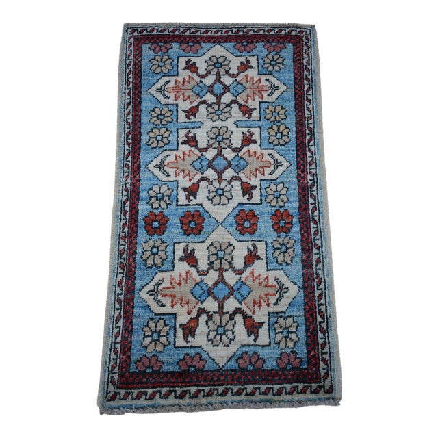 Traditional Turkoman Hand-Knotted Sky Blue Wool Rug For Sale