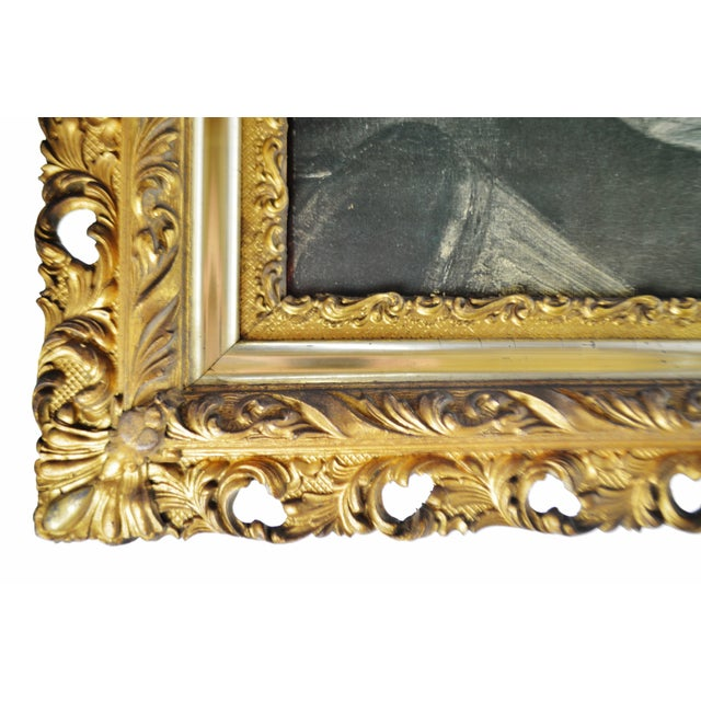 Late 20th Century Antique Gilt Framed Rembrandt Girl With a Broom Textured Print on Panel For Sale - Image 5 of 13