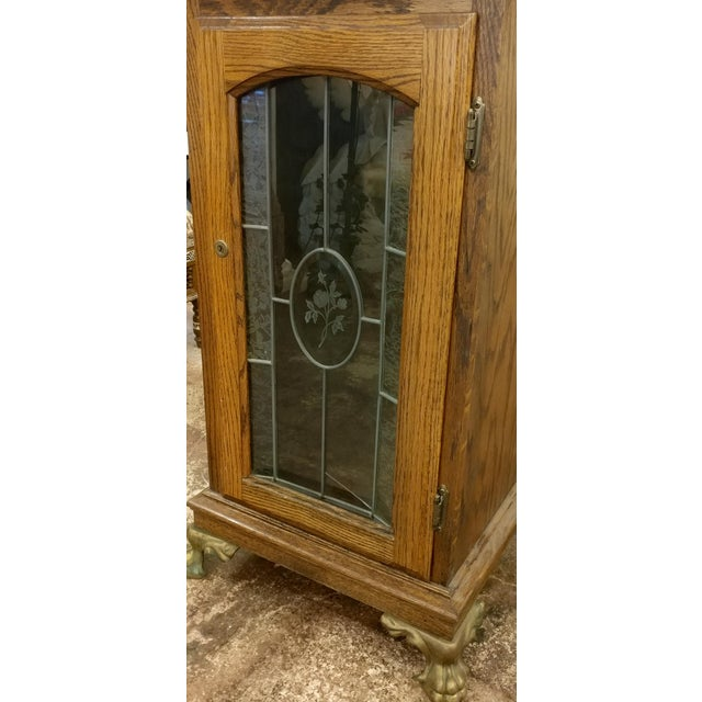 Wood Antique Slot Machine Oak stand cabinet w/Etched Glass door For Sale -  Image - Luxury Antique Slot Machine Oak Stand Cabinet W/Etched Glass Door