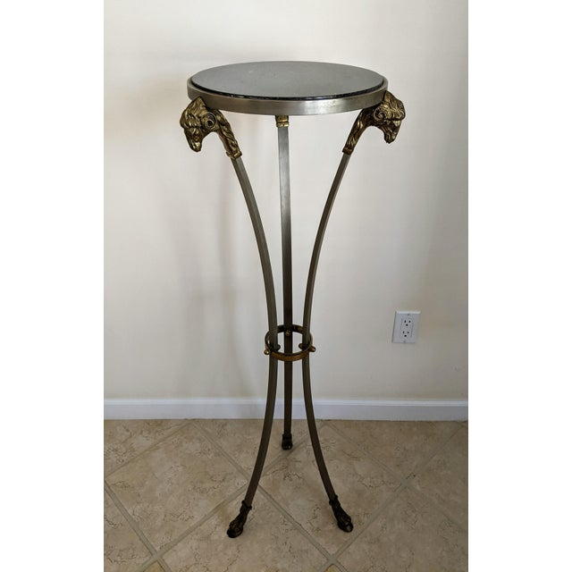 """Metal 1970""""s Jansen Style Ram's Head Pedestal Table For Sale - Image 7 of 7"""