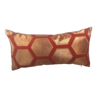 Vintage Japanese Obi Gold Metallic Honeycomb Pillow For Sale