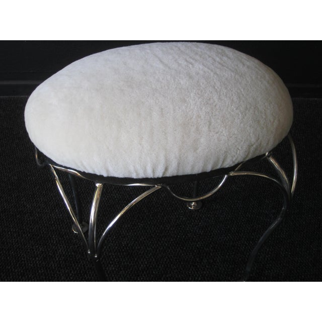 1970s Nickel Plated and Shearling Vanity Stool For Sale - Image 5 of 8