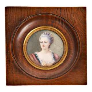 Antique 18th Century Hand Painted Portrait Miniature of Lady For Sale