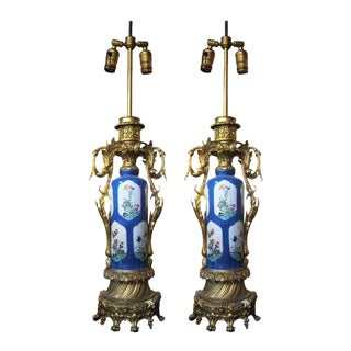 French 19th Century Blue Porcelain Urn Lamps - A Pair For Sale