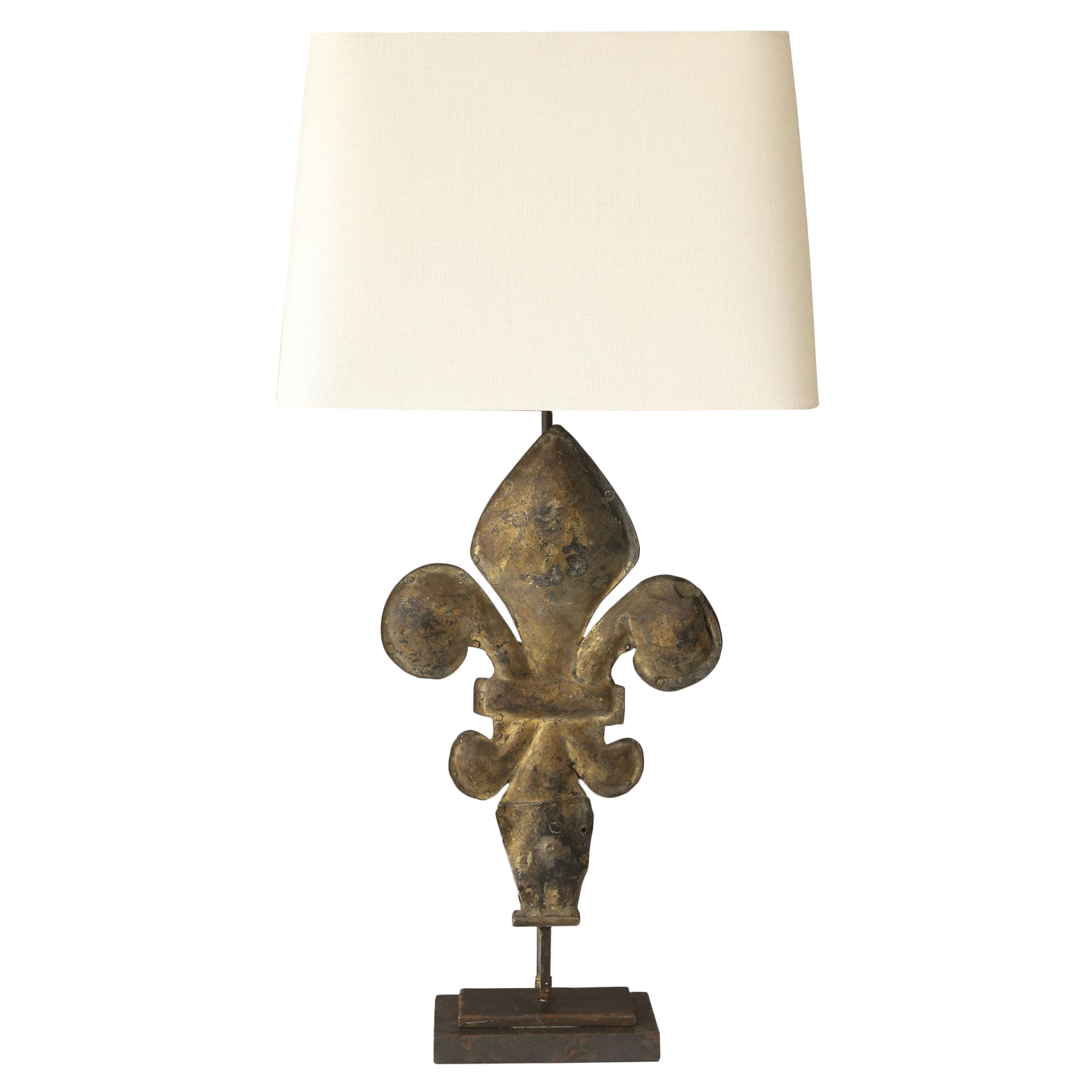Gilt Tole Fleur De Lis Table Lamp For Sale