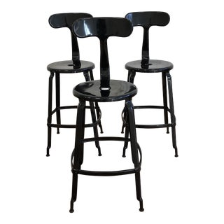 Set of Three Adeco Metal Counter Stools For Sale