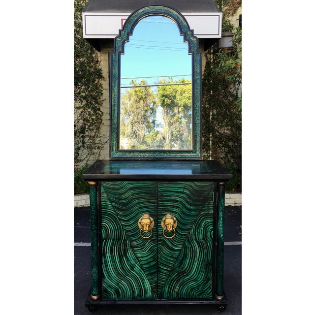 Vintage Mid Century Modern Faux Malachite Cabinet & Mirror. This lovely cabinet and mirror are genuine vintage mid century...