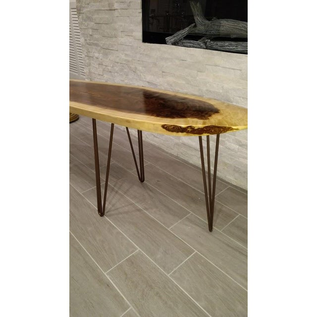 Live Edge Walnut Coffee Table with Hairpin Legs - Image 3 of 5