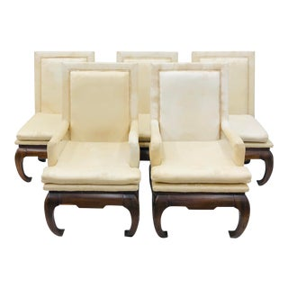 Vintage Ming Style Silk Upholstered Dining Chairs For Sale