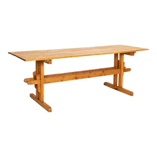 Antique Farm Table With Trestle Base From Hungary For Sale