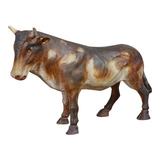 French Painted Plaster Model of a Cow For Sale