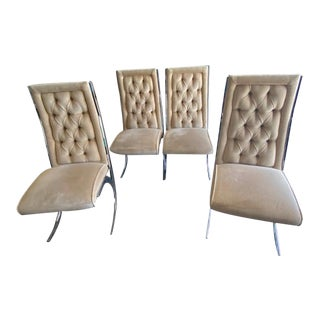 Pierre Cardin Style Mid-Century Tufted Dining Chairs - Set of 4 For Sale