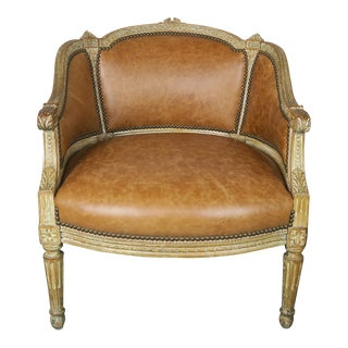Petite French Louis XVI Style Painted Leather Armchair For Sale