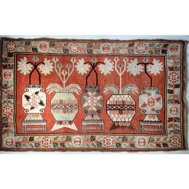 Vintage Khotan Vase Carpet - 5′ × 8′ For Sale - Image 13 of 13