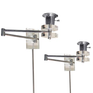 Pair of Lucite & Chrome Swing-Arm Sconces