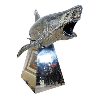 Life Size Mosaic Shark on Mirrored Base For Sale